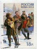 La RUSSIE - 2014 : hommes d'expositions avec la balalaïka et les instruments de musique nationaux bayan et russes, question d'Eur Photos stock