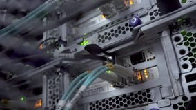 LA RUSSIE, MOSCOU - 27 JUILLET 2019 Macro fin vers le haut de câble de serveur de lueur Support de centre de traitement des donné clips vidéos