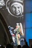 La Russie, Moscou Lumière et salon de l'aéronautique sur la façade de l'espace de pavillon vacances Photos libres de droits