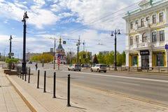 La Russie, Omsk Le centre historique de la ville est baptisé du nom de Lénine Images stock