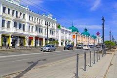 La Russie, Omsk Le centre historique de la ville est baptisé du nom de Lénine Images libres de droits