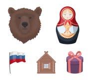 La Russie, pays, nation, matryoshka Les icônes réglées de collection de pays de la Russie dans le style de bande dessinée dirigen Photos libres de droits
