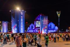 La Russie, Rostov On Don, le 21 juin 2018 : Éventez la zone à Rostov-On-Don pour le monde Cup-2018 situé sur la place de théâtre  Photos libres de droits