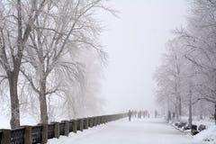 La Russie, Samara, le 6 février 2016 - remblai sur la Volga en brouillard d'hiver Photos stock