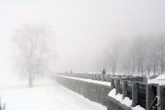 La Russie, Samara, le 6 février 2016 - remblai sur la Volga en brouillard d'hiver Photo stock