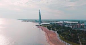 La Russie, St Petersburg, Lakhta, le 4 juin 2018 : Levé aérien Centre de Lakhta de gratte-ciel Architecture en verre moderne pour clips vidéos