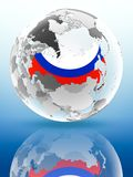 La Russie sur le globe politique Photographie stock
