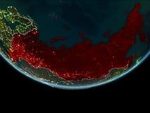 La Russie sur terre de l'espace la nuit Images stock