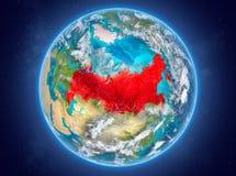 La Russie sur terre de planète dans l'espace Image stock