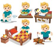 La rutina diaria de un muchacho lindo libre illustration