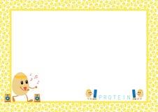 La séance d'entraînement Eggs la bande dessinée dans le cadre de tableau jaune Images stock