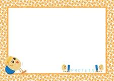 La séance d'entraînement Eggs la bande dessinée dans le cadre de tableau orange Image stock