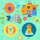 La sécurité des communications en ligne, la protection de virus informatique, icônes de calibre d'infographics de sécurité de cub Image stock