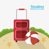 La sabbia delle stelle marine del beach ball della valigia vacations isola paradisiaca Fotografie Stock Libere da Diritti