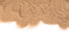 La sabbia isolata su fondo bianco Immagini Stock