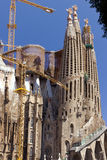 La Sagrada Familia in Barcelona. SPAIN - AUGUST 3: La Sagrada Familia  facade - cathedral designed by Antoni Gaudi, which is being build since 1882 and is not Stock Photo