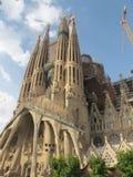 La Sagrada Familia in Barcelona. La Sagrada Familia with blue sky and clouds in Barcelona in Spain, Europe Stock Photography