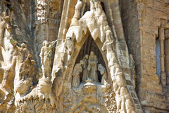 La Sagrada Familia in Barcelona. It is located in Barcelona (Spain) Catholic basilica, designed by Antoni Gaud royalty free stock photos