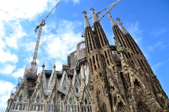 La sagrada familia, Barcelona, Spain. The impressive cathedral designed by Gaudi, which is being build since 19 March 1882 and is not finished yet Stock Image