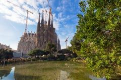 La Sagrada Familia in Barcelona. BARCELONA SPAIN - JANUARY 01 2017: La Sagrada Familia in day time, Large Roman Catholic cathedral in Barcelona, Spain, designed Royalty Free Stock Photo