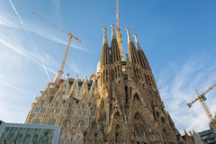 La Sagrada Familia in Barcelona. BARCELONA SPAIN - JANUARY 01 2017: La Sagrada Familia in day time, Large Roman Catholic cathedral in Barcelona, Spain, designed Stock Photography