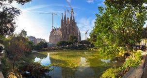 La Sagrada Familia in Barcelona. BARCELONA SPAIN - JANUARY 01 2017: Panorama view of La Sagrada Familia in day time, Large Roman Catholic cathedral in Barcelona Stock Photography