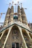 La Sagrada Familia in Barcelona. Barcelona, Spain - June 09, 2011: The La Sagrada Familia cathedral by Antoni Gaudi in Barcelona. Wide angle shot Stock Photography