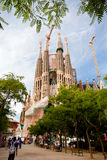 La Sagrada Familia. BARCELONA, SPAIN - JUNE 13: La Sagrada Familia -  the impressive cathedral designed by Gaudi, which is being build since 19 March 1882 and is Royalty Free Stock Photography