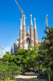 La Sagrada Familia. BARCELONA, SPAIN - OCTOBER 22, 2015: Basilica and Expiatory Church of the Holy Family is a large Roman Catholic church in Barcelona, designed Royalty Free Stock Photos