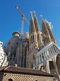 La Sagrada familia. The cathedral built by Antonio Gaudi from an unusual angle royalty free stock photo