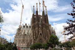 La Sagrada Familia,cathedral designed by Gaudi. La Sagrada Familia - the impressive cathedral designed by Gaudi, which is being build since 19 March 1882 and is Stock Photo