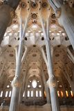 La Sagrada Familia ceiling. BARCELONA - MAY 08: La Sagrada Familia, the cathedral designed by Gaudi, which is being build since 19 March 1882 with the donations Stock Photography