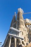 La Sagrada Familia - den mäktiga domkyrkan planlade vid Gaudi Arkivbilder