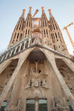 La Sagrada Familia facade, cathedral by Antonio Gaudi Royalty Free Stock Photography