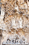 La Sagrada Familia, facade fragment. Cathedral by Gaudi Royalty Free Stock Photo