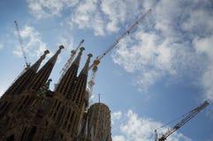 La Sagrada Familia in Barcelona, Spain under Construction. La Sagrada Familia Gaudi in Barcelona, Spain under Construction Stock Photos