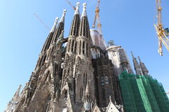 La Sagrada Familia - the impressive ca. Thedral designed by Gaudi, which is being build since 19 March 1882 and is not finished yet 2013 in Barcelona, Spain Stock Photos
