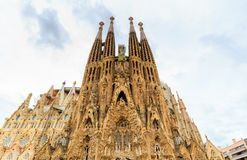 La Sagrada Familia - the impressive cathedral designed by architect Gaudi, which is being build since March 19, 1882 and is not fi. Nished Royalty Free Stock Photos