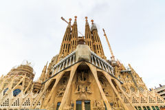 La Sagrada Familia - the impressive cathedral designed by architect Gaudi, which is being build since March 19, 1882 and is not fi. Nished Royalty Free Stock Photo