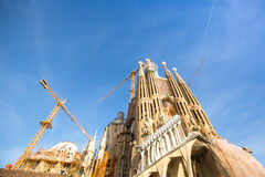 La Sagrada Familia - the impressive cathedral designed by Gaudi, which is being build since Mar 19, 1882 and is not finished yet. Royalty Free Stock Image
