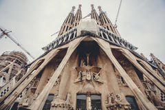 La Sagrada Familia. The impressive cathedral designed by Gaudi Stock Photography
