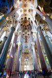 La Sagrada Familia, interior. BARCELONA, SPAIN – June 13: La Sagrada Familia - the ceiling of the cathedral designed by Gaudi, which is being build since 19 Royalty Free Stock Image