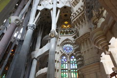 La Sagrada Familia interior Stock Images