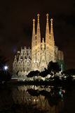 La Sagrada Familia at night. BARCELONA - MAY 10: The Basilica of La Sagrada Familia at night. Designed by Antoni Gaudi, its construction began in 1882 and is not Stock Photography