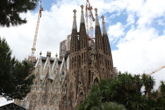 La Sagrada Familia, the unrealistic cathedral designed by Gaudi. La Sagrada Familia, the unrealistic cathedral designed by Gaud in Barcelona Spain royalty free stock photography