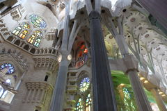 La Sagrada Familia, the unrealistic cathedral designed by Gaudi Royalty Free Stock Images