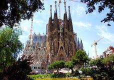 La Sagrada Familiain巴塞罗那,西班牙 库存照片
