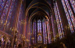 La Sainte-Chapelle Chapel Stained Glass Windows. Famous stained glass windows and ceiling within La Sainte-Chapelle Chapel in Paris, France Royalty Free Stock Image