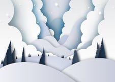 La saison et les montagnes d'hiver aménagent le style en parc d'art d'exposé introductif illustration libre de droits