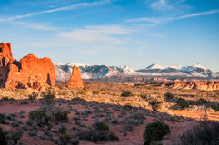 La Sal Mountain View from Arches National Park. View of snow covered peaks of La Sal Mountain from Arches National Park, Utah, USA Stock Images
